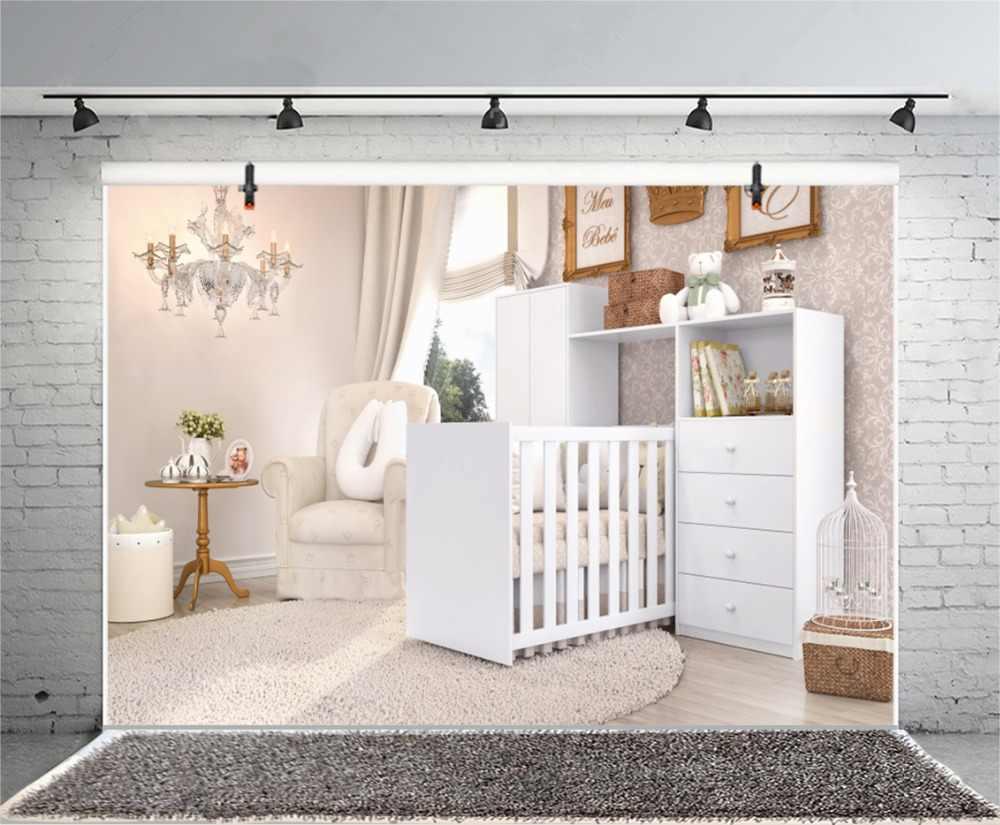 Laeacco белый Boudoir комнаты кроватки диван люстра ковры для маленьких детей интерьер фото Фоны для фотографий экраны для фотостудии