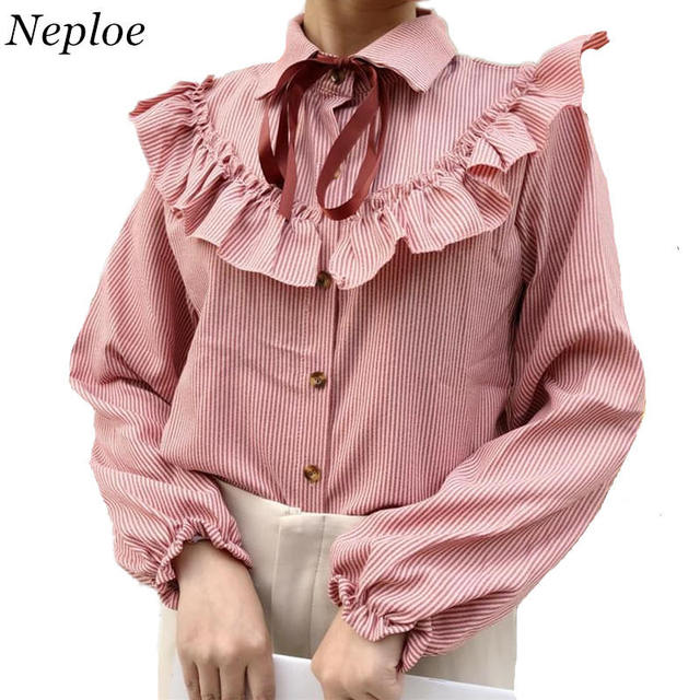 98f4cccb66a1a Neploe Stripe Blusas Sweet Woman Shirt 2018 Spring Long Sleeve Turn-down  Collar Bow Tie Tops Ruffles Design Blouses 34736