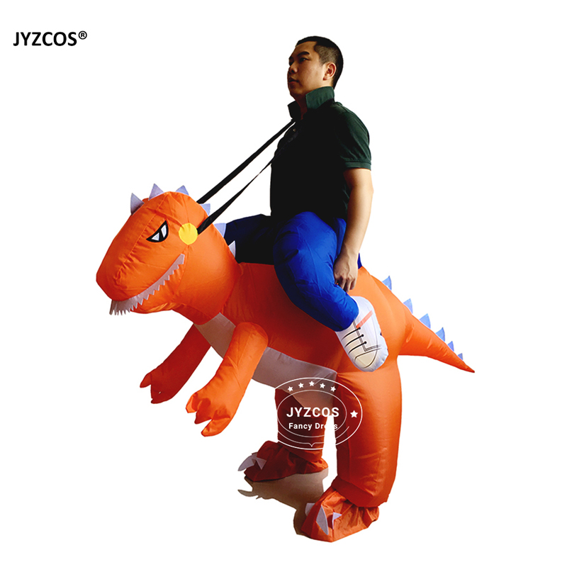 JYZCOS Man Riding inflatable T-rex Dinasour Costume Fan Operated Costumes Halloween Party Fancy Dress Animal Costume for Adults (1)