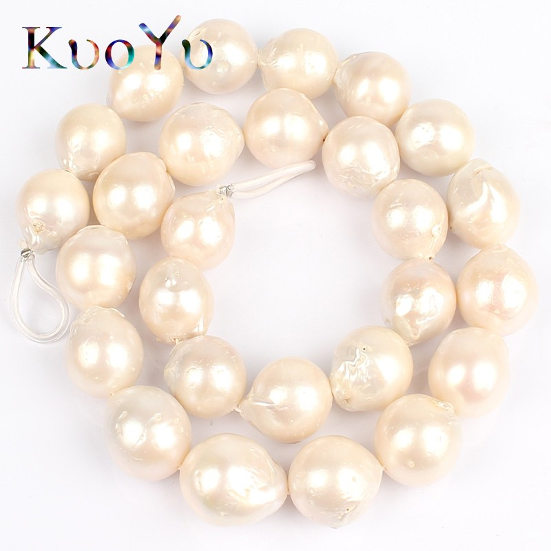 AAA 14mm Natural White Baroque Freshwater Pearl Round Loose Beads For DIY Making Bracelet Necklace Jewelry Strand 15 wholesale