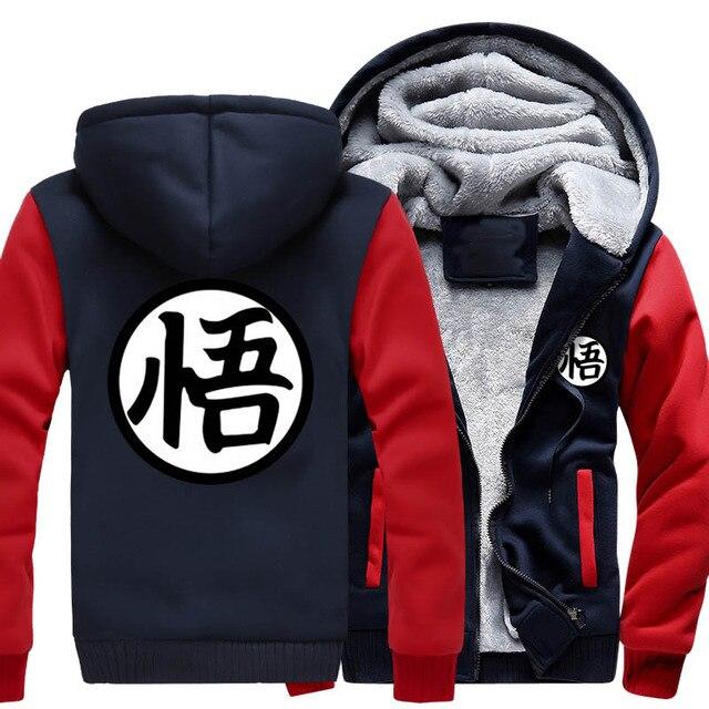Новые Зимние Куртки и Пальто балахон Аниме Dragon Ball Z Сон Гоку С Капюшоном Толщиной Молнии Мужчины кардиган Толстовки