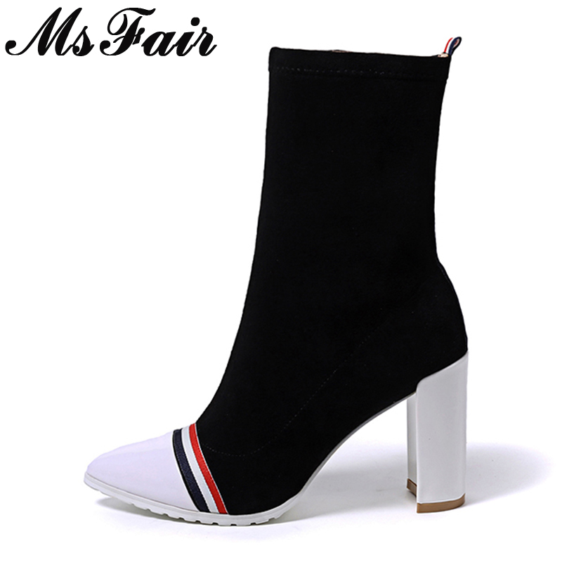 MsFair Pointed Toe Square heel Women's Boot Mixed Colors Super High Heels Ladies Boot Winter Striped Fashion Women Boots double barrel toddler boys s andy cowboy boot square toe