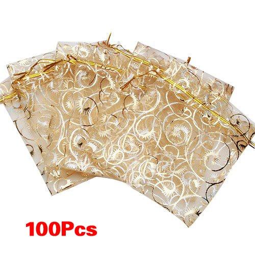 "200x 3.5/""x4.7/"" White  Eyelash Organza Jewelry Pouch Wedding Party Favor Gift Bag"
