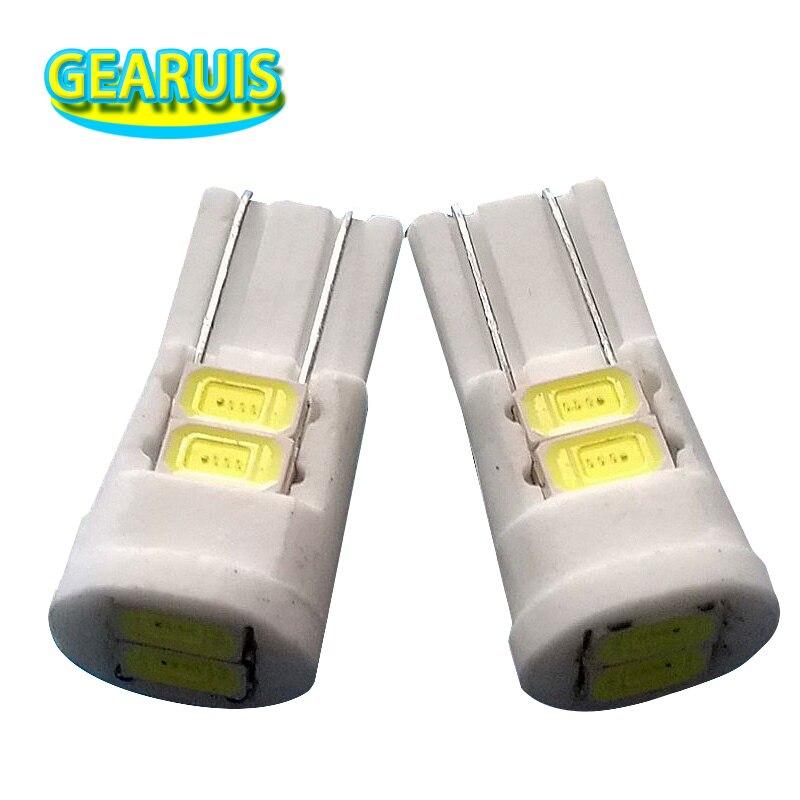 100pcs T10 Ceramic LED W5W 6 SMD 5630 6SMD 80MA 5730 LED 194 168 Car License
