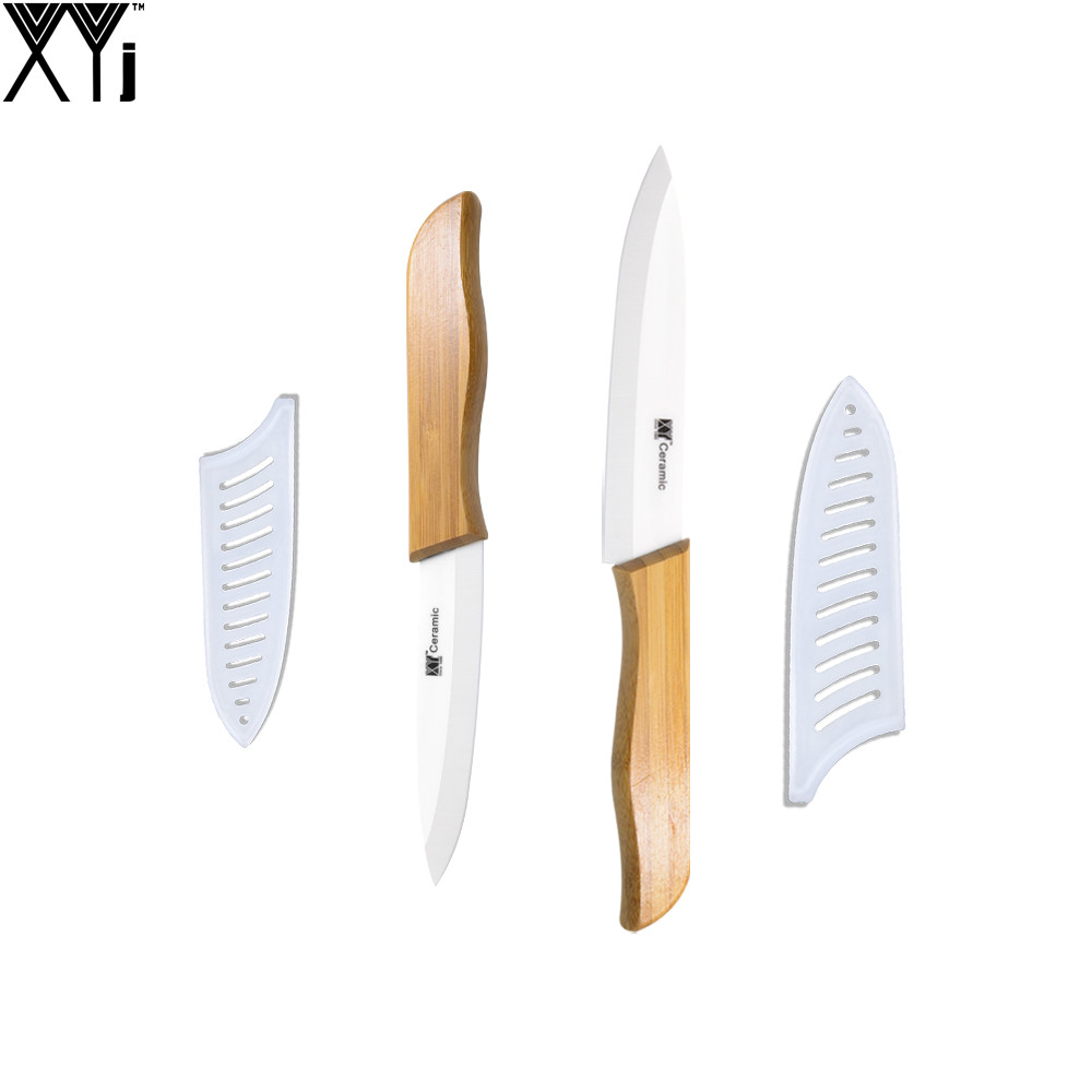 white kitchen knives ceramic knife set bamboo handle white blade home utility slicing kitchen knives xyj brand high 6424