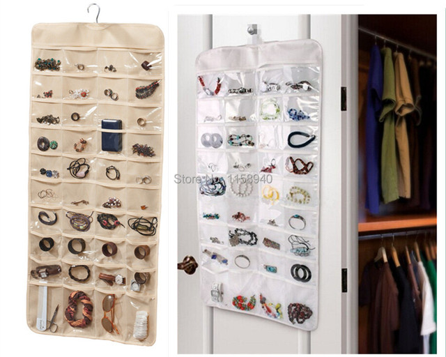 1 pc New Portable 72 pockets Double Sided Hanging Jewelry Organizer