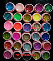 new 30 Color Glitter UV Gel Builder False Tips Acrylic Nail Art Polish Kit Set pink pot