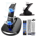 LED Dual USB Charger Charging Dock Stand Station+ Dust Proof Prevent Cover Kit for Sony Playstation 4 PS4 Game Gaming Controller