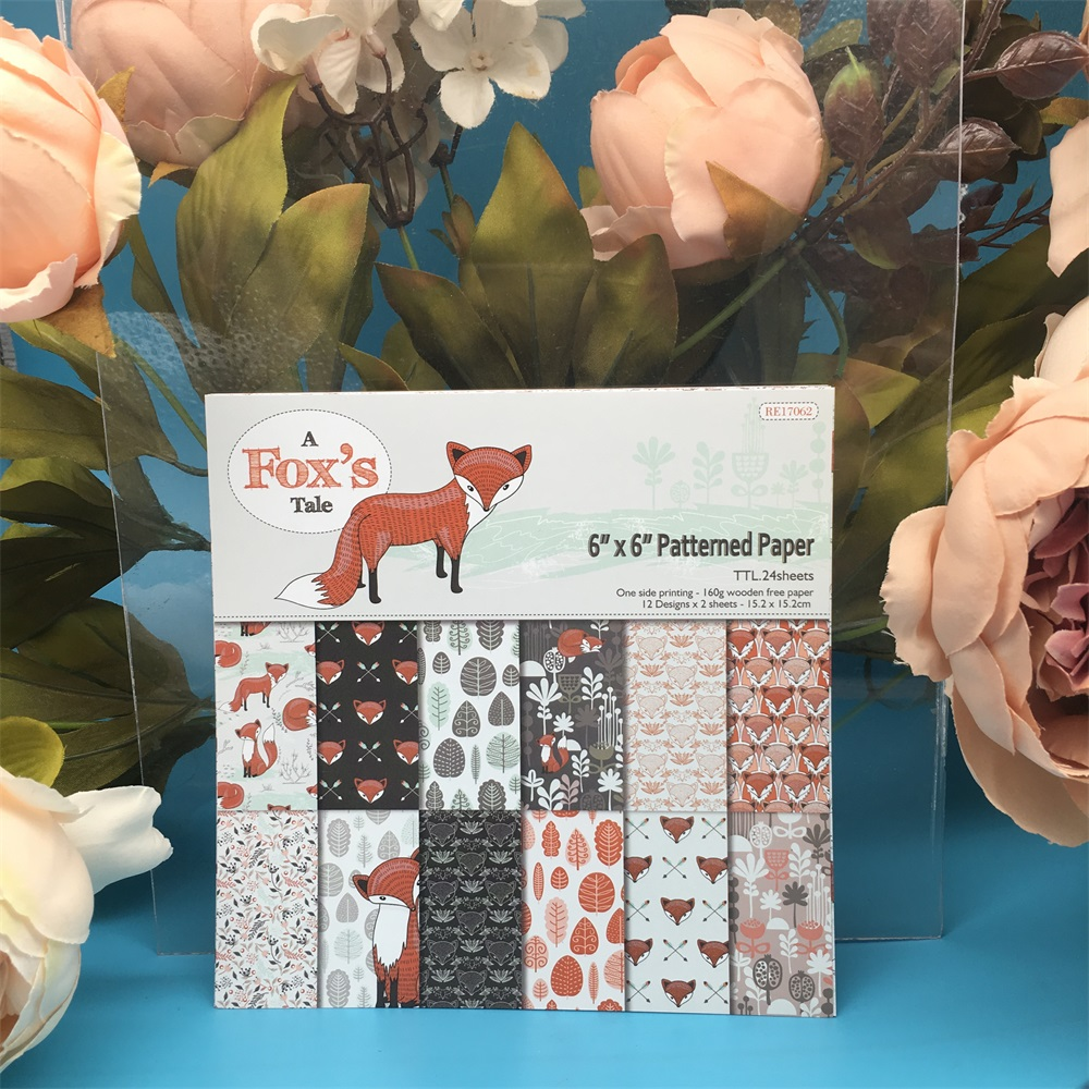 24pcs/Pack 6*6inch A Fox's Tale Patterned Paper Pack Scrapbooking DIY Planner Card Making Journal Project Letter Pad Paper
