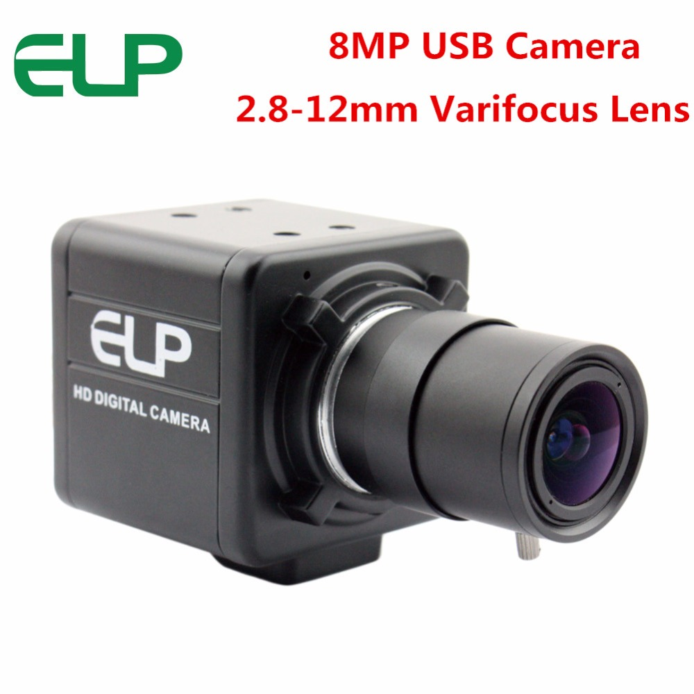 ELP 8MP 3264X2448 USB camera Surveillance Cameras CMOS Sony IMX179 2.8-12mm varifocal lens usb camera webcam with 3m usb cable