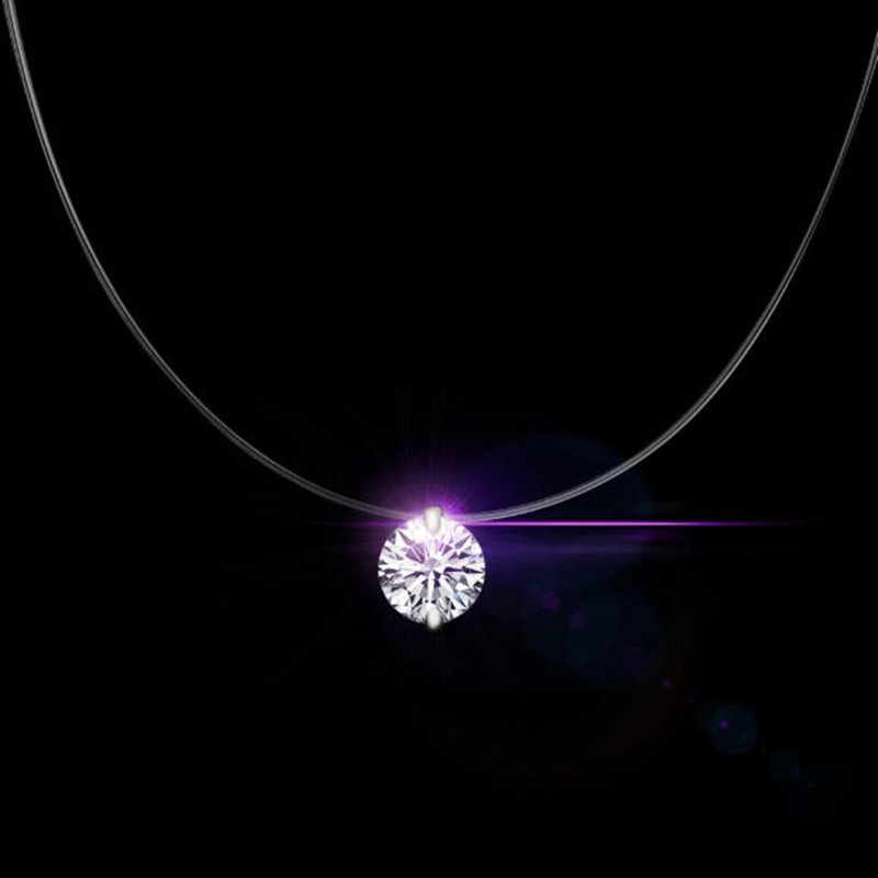 Silver Shiny Zircon Necklace and Invisible Transparent Fishing Line Simple Pendant Necklace Jewelry for Women