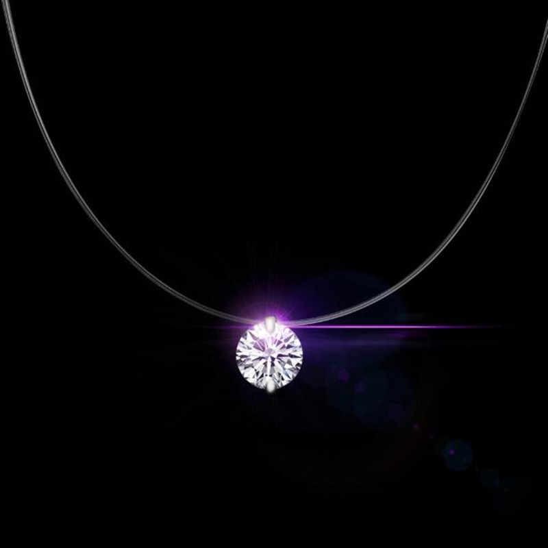 Perak Shiny Zircon Kalung dan Terlihat Pancing Transparan Sederhana Liontin Kalung Perhiasan untuk Wanita