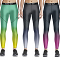 3 Mujeres de Los Colores Patrón de Gradación Imprimir Flacos de Las Polainas de Fitness Legging Más Tamaño 4XL Delgado Pantalones de Entrenamiento 3D Polainas de Las Mujeres 2016