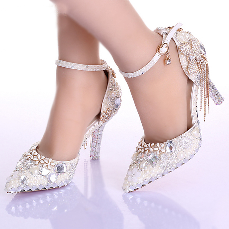 Elegant Pointed Toe Ivory Pearl Wedding Party Dress Shoes Ankle Strap Boots Bridal Shoes Rhinestone Pumps for Wedding Shoes