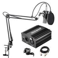 Neewer NW-700 Professional Studio Broadcasting และคอนเดนเซอร์ชุดไมโครโฟน + 48 V Phantom Power Supply สีดำ