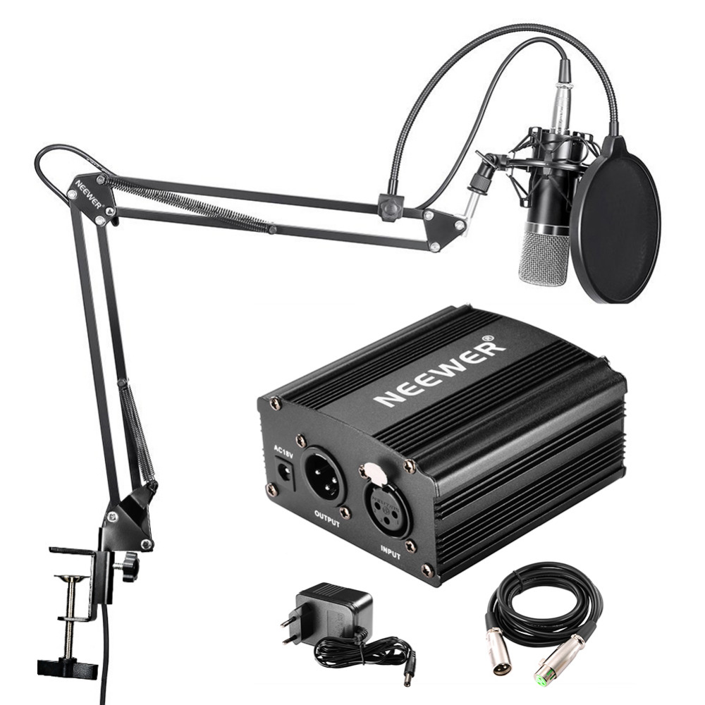 Neewer NW-700 Professional Studio Broadcasting And Recording Condenser Microphone Kit + 48 V Phantom Power Supply Black