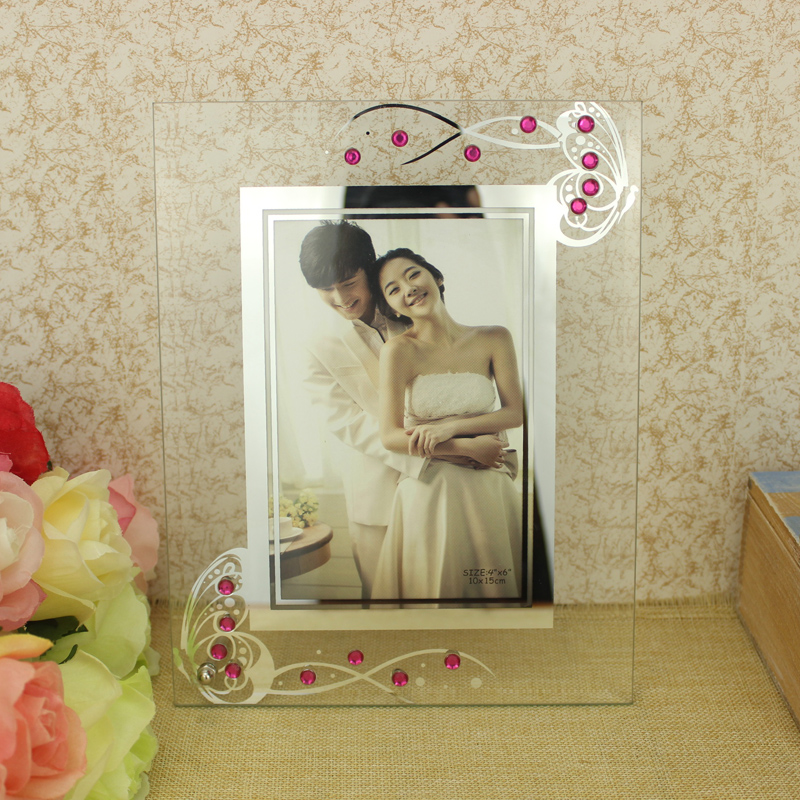 Butterfly Glass Photo Frame plexiglass Stand Table Display Photo wedding Picture Holder Decoration TV Wall Frame Best Gift