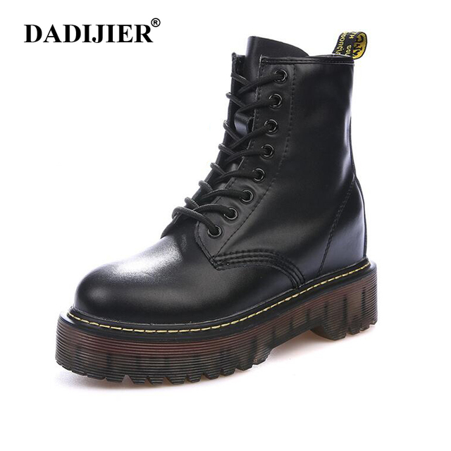 Boyutu 35-40 Tıknaz Motosiklet Çizmeler Kadın Sonbahar Yüksekliği artan Moda Deri dr chic Çizmeler Bayanlar Ayakkabı ST326