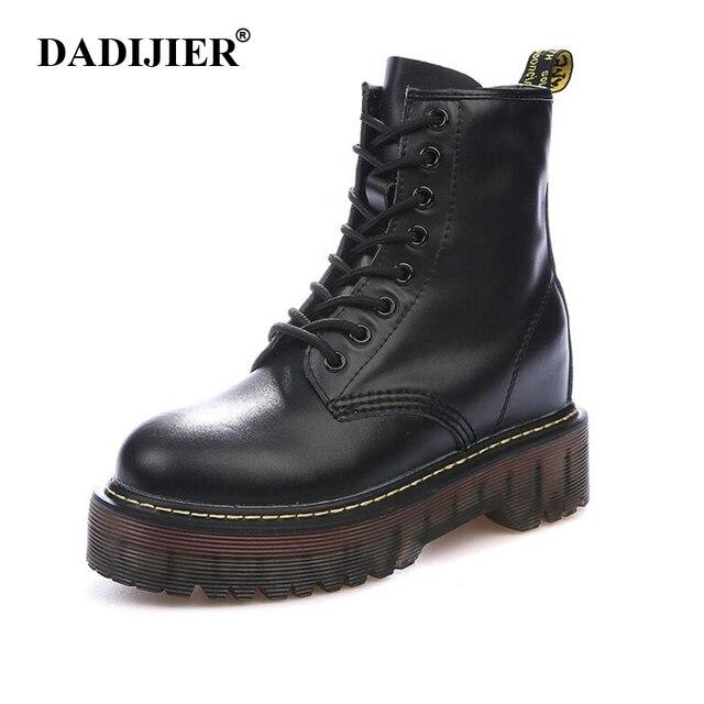Größe 35-40 Chunky Motorrad Stiefel Frauen Herbst Höhe zunehmende Mode Leder dr chic Stiefel Damen Schuhe ST326