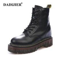 efdf3e98a6 Tamaño 35-40 grueso botas de motocicleta mujeres otoño aumento de altura de  cuero de moda el dr. chic botas zapatos de mujer ST3.