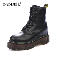 Size 35 40 Chunky Motorcycle Boots Women Autumn Height increasing Fashion Leather dr chic Boots Ladies Shoes ST326