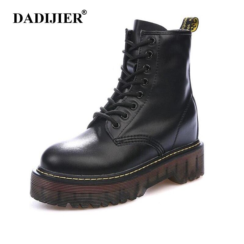Taille 35-40 Chunky moto bottes femmes automne hauteur augmentant la mode en cuir dr chic bottes dames chaussures ST326