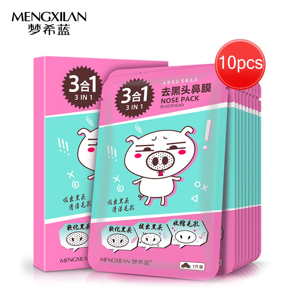 10pcs/box MENGXILAN 3-Function-In-One Strawberry Nose mask Pack Soften Blackhead + Pull out Blackhead + Shrink Pores