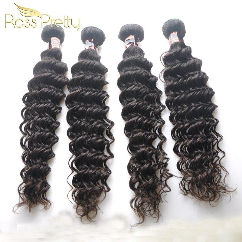 Ross Pretty Hair Brazilian Deep Wave Hair Extension Original Remy Human Hair Weaving 4bundles Wholesale Fast Free ship