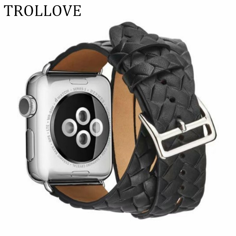 Extra Long Leather Band Double Tour Cuff Woven Bracelet Leather Strap Watchband for Apple Watch Series 1 3 2 38mm 42mm woman leather double buckle cuff band for apple watch 38mm 42mm strap bracelet