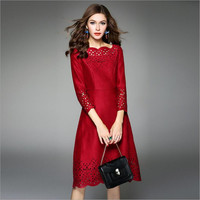 Lafhy dofhy 2018 Осень Женская три четверти рукав выдалбливают чистый цвет и замши новый стиль платье миди 108