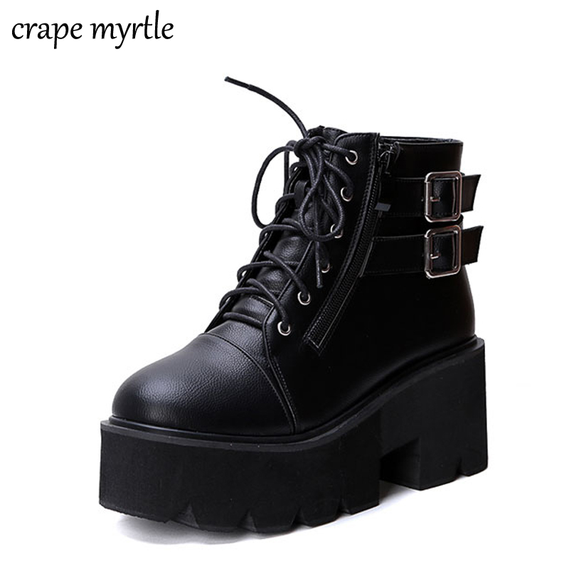 lace up Boots 2019 Fashion Thick Heel Ankle Boots Women High Heels Autumn Winter Woman Shoes punk boots platform shoes YMA413 womens punk ankle boots chunky heels platform side zip leather moto shoes woman high heel thick heel platform motrocycle boot