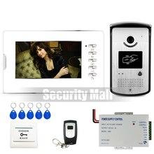 Chuangkesafe-Nuevo Sistema Home 7 pulgadas de Video Teléfono de Puerta de Intercomunicación 1 Blanco Timbre de La Cámara Del Monitor + RFID + Control Remoto En Stock