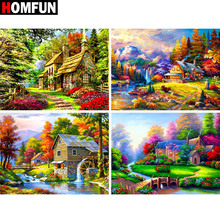 HOMFUN Full Square/Round Drill 5D DIY Diamond Painting House Forest scene 3D Embroidery Cross Stitch Home Decor Gift BK004