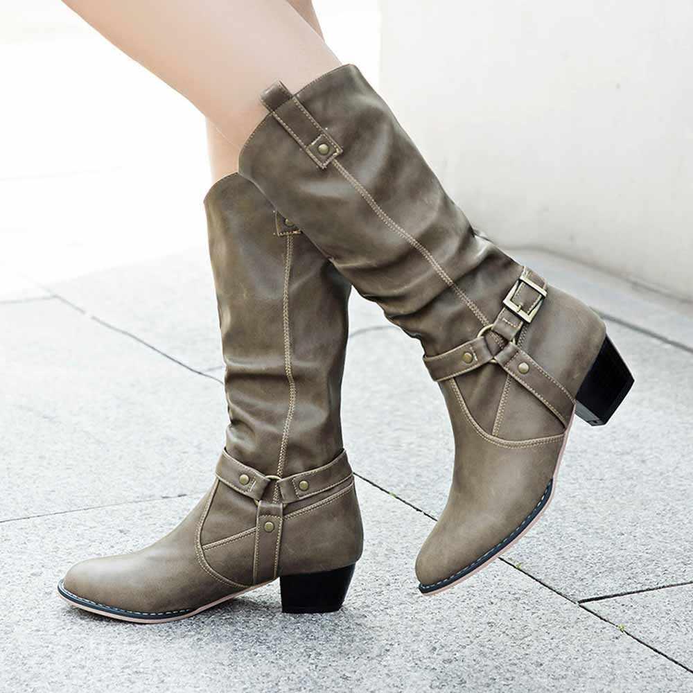 YOUYEDIAN/Женские однотонные сапоги до колена на среднем каблуке; нескользящие ботинки из искусственной кожи; повседневная женская обувь; #35