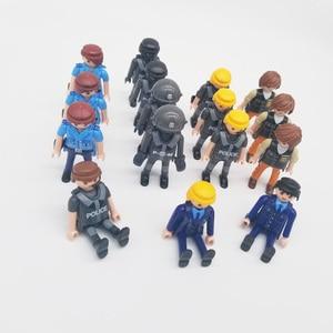 Image 4 - Playmobil 7cm exército polícia militar, figura de ação, modelo, moc, brinquedos, presente para crianças, estilo aleatório para venda x046