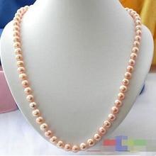 """>>> 2"""" 10 мм розовый круглый пресноводные искусственного жемчуга ожерелье CKLACE"""