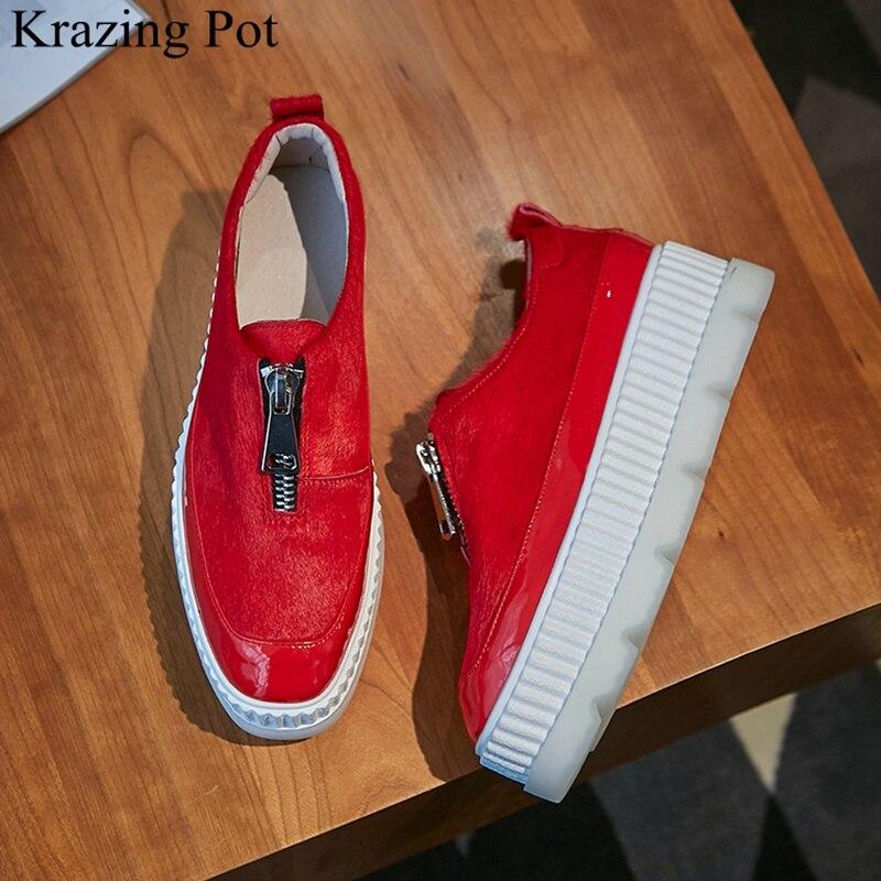 Ayakk.'ten Vulkanize Kadın Ayakkabıları'de Superstar at kılı fermuar yüksek topuklu kalın alt kadın sneakers takozlar loafer'lar rahat rahat kırmızı vulkanize ayakkabı L36'da  Grup 1