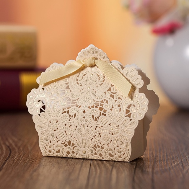 Laser Cut Candy Gift Bo Wedding Party Favor With Ribbon For Cans Sweet Jewelry Decorative Box