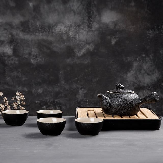 Japan Style Teapot Set Creative Handmade Ceramic Travel Tea Set Kungfu Kettles 1 Pot 4 Tea Cups with Tray Drop Shipping