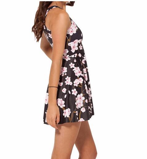 HTB1O3hvKXXXXXc8XFXXq6xXFXXXm - SexeMara 2018 Hot Sale Pink Plum Print Beautiful Skater Dress Vestidos Vintage Style Pleated Mini Dress Women's Party Dress
