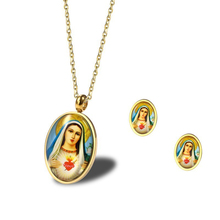 Stainless Steel Virgin Mary Medallion Ntra Sra de Guadalupe Engraved Pendant Necklace with Mama Mary Stud Earrings Religious Set virgin mary necklace dainty gold medallion necklace mother mary pendant religious catholic gift