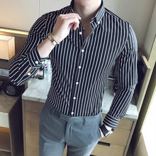 Dress Shirts Men High quality Striped Casual Cotton Long Sleeve Fit Male luxury shirts Turn-down Collar offices men shirts girls plaid blouse 2019 spring autumn turn down collar teenager shirts cotton shirts casual clothes child kids long sleeve 4 13t