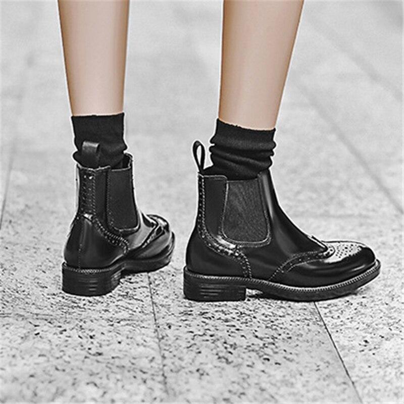 Black Cheville Cm Talons Noir Femmes Mode Plate De 3 En forme Dames Chaussures Richelieu Des Chelsea Bottes Chunky Cuir 3cm Heel fdqqwXU0