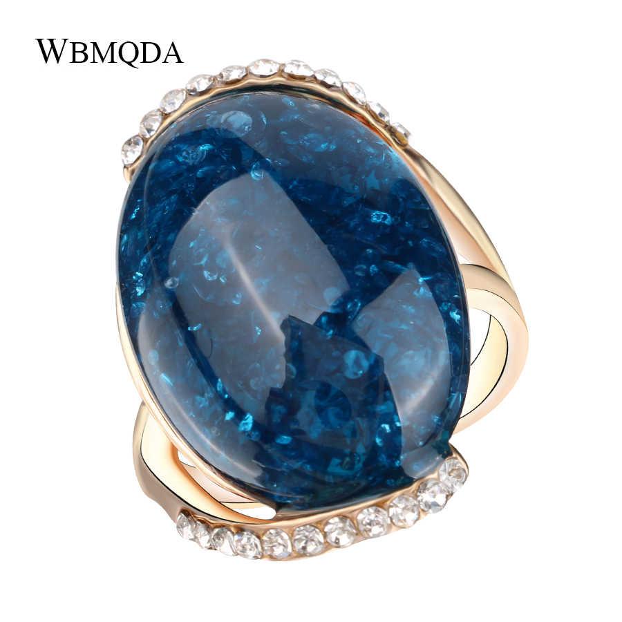 ファッションクリスタルローズゴールドリングビッグ青空石の婚約指輪ウェディングパーティーブルガリアジュエリー 2018 送料無料