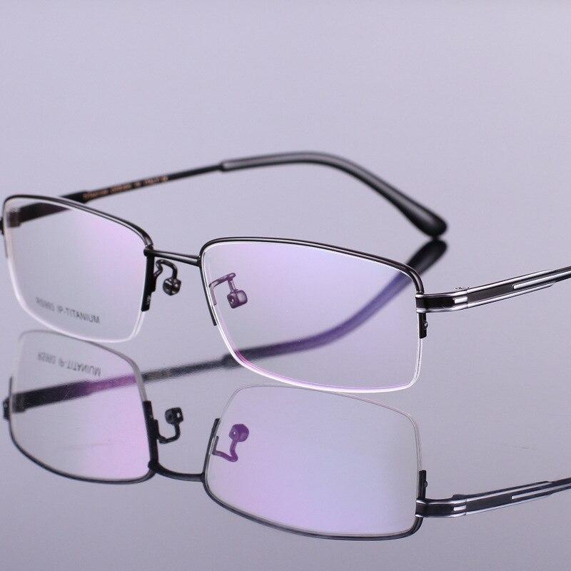 Mode hommes lunettes or ultra-léger titane cadres lunettes pour hommes optique cadre mince jambe demi-cerclée 93