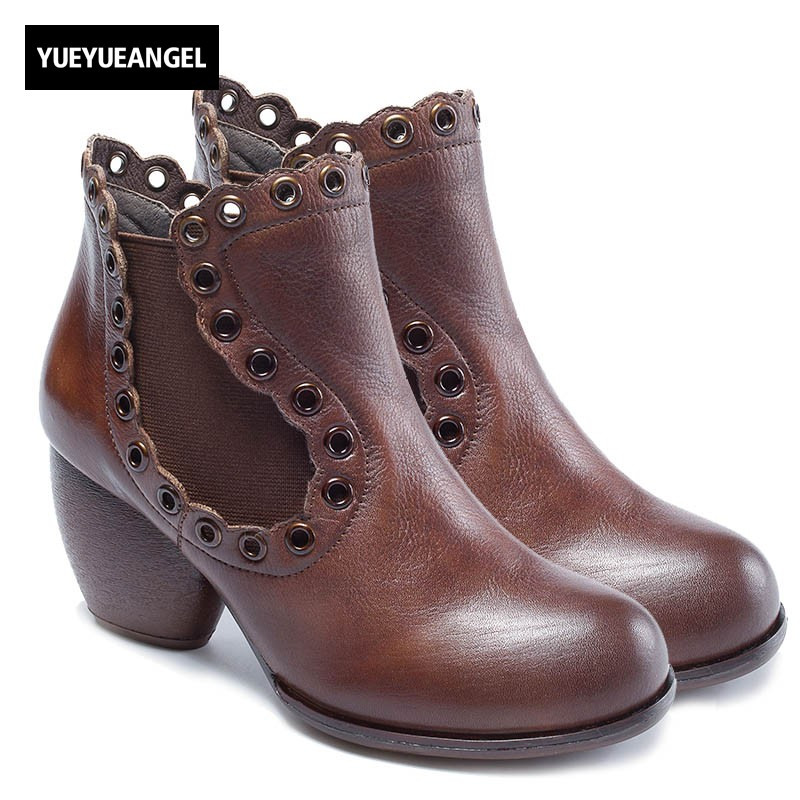 2018 Autumn New Thick Heel Women Boots Vintage Solid Cow Leather Ankle Boots Casual Hollow Out Genuine Leather Female Boots vintage hollow out solid color blouse