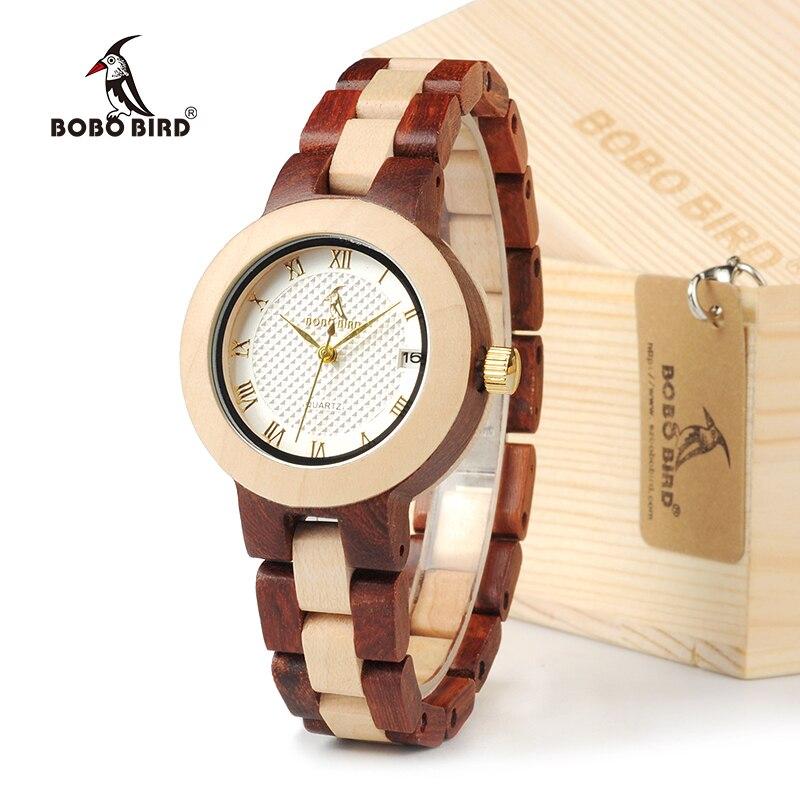 BOBO VOGEL M19 Bambus & Rose Sandale Uhr Farbe Blockieren Frauen Kleid Armbanduhr Mit Geschenk-box