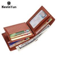 KEVIN YUN Fashion Brand Men Wallets Genuine Leather Short Design Male Bifold Wallet ID Credit Card
