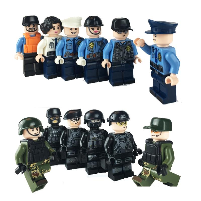 Military SWAT Building Blocks  Anti-terrorism Dolls Figures Toy Children Gift Compatible With Blocks