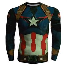 Spiderman Batman  Fitness Compression Shirt Men Superman  Captain America Bodybuilding Long Sleeve 3D T Shirt Tee